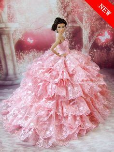 9865 New Luxy Pink Limited free shipping evening dress wedding gown skirt for doll in dolls accessories