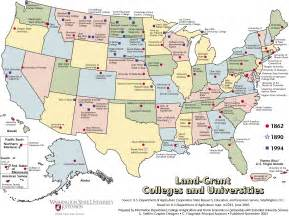 map of us universities us college and land grant map usa mappery