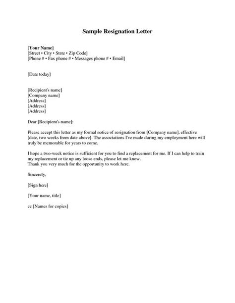 layout of a notice letter resignation letter sle 2 weeks notice free2img com