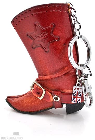Flag Leather Motif Kode Df5908 brown leather cowboy boot keyring with union charm