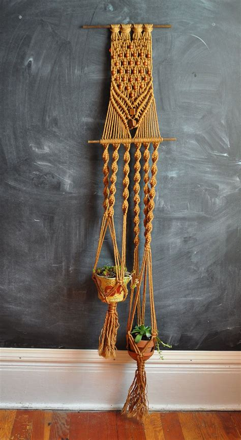 Macrame Pictures - vintage macrame dual plant holder 70s handmade home decor