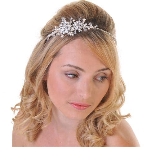 Wedding Hair Accessories Side Tiara by Vera Diamante Flower Side Tiara Wedding And Bridal Hair
