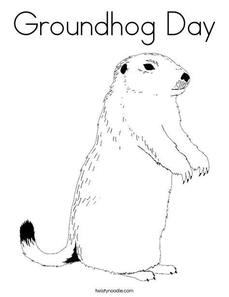 Groundhog Day Coloring Page Twisty Noodle Groundhog Day Coloring Pages