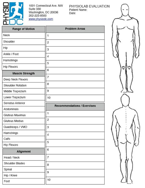 physical therapy evaluation template physical assessment form hp slenote sm gif chapter 1