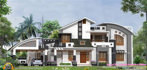 contemporary home style sloped roof with modern mix house keralahousedesigns