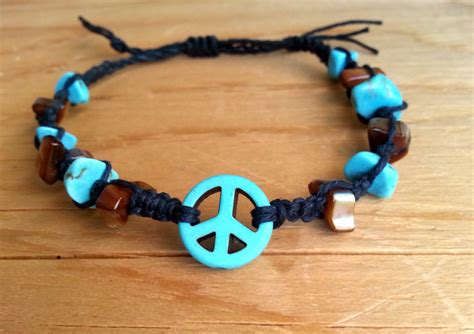 peace hemp bracelet anklet beaded turquoise by sunandsoil