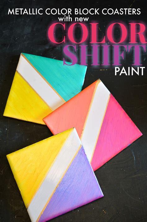color shift metallic color block coasters with folkart color shift