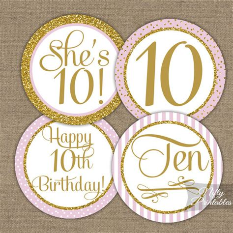 10th Birthday Cupcake Toppers Tenth Birthday Party Pink