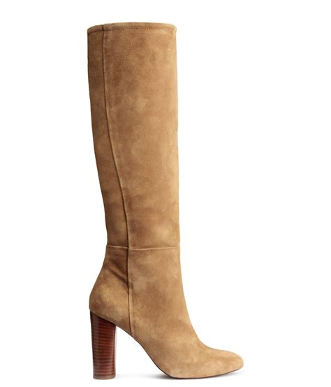 h m knee high suede boots in lyst