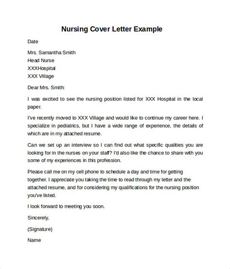 Cover Letter Template Printable Nursing Cover Letter Exle 10 Free Documents In Pdf Word
