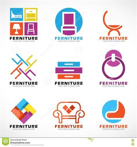 home decor logos furniture and decor modern logo vector set design stock