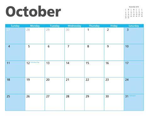 I Calendrier Octobre 2015 Octobre 2015 Calendrier Page Photo Stock Libre