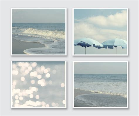 white and blue wall decor coastal waves and wall decor set pastel blue and white