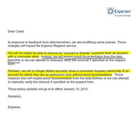 Experian Credit Bureau Dispute Letter Mailing Address Important Big Changes With Credit Repository Report