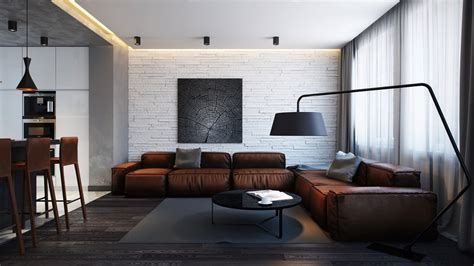leather sofa interior design open apartments that make creative use of texture and pattern