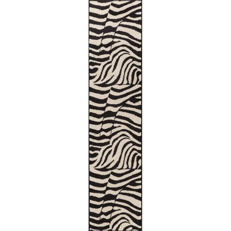 zebra print runner rug well woven miami zebra animal print stripe black 2 ft x 7 ft 2 in runner rug 85632 the home
