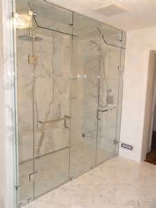 Custom Inline Double Shower Door With Steam Vent Modern