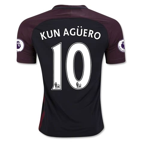 City Home 1617 Kun Aguero Patch manchester city away football shirt 16 17 soccerlord