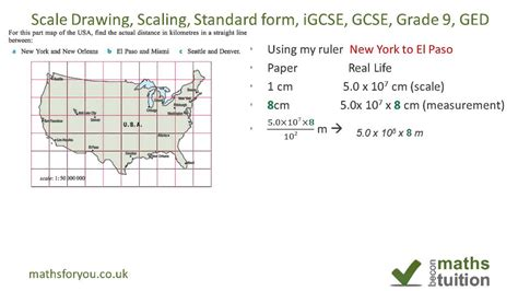 draw scale diagram scale drawing scaling measuring standard form indices igcse gcse ged