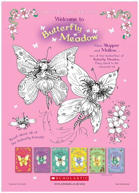 Butterfly Meadow Coloring Pages | butterfly meadow colouring fun scholastic kids club