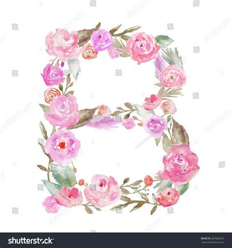 watercolor floral monogram letter b decorative stock
