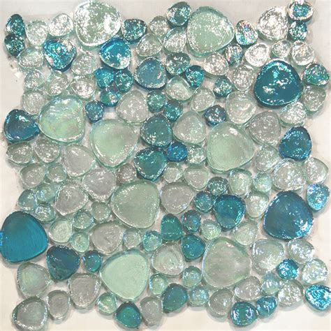blue pattern glass 10sf blue iridescent random pattern glass mosaic tile