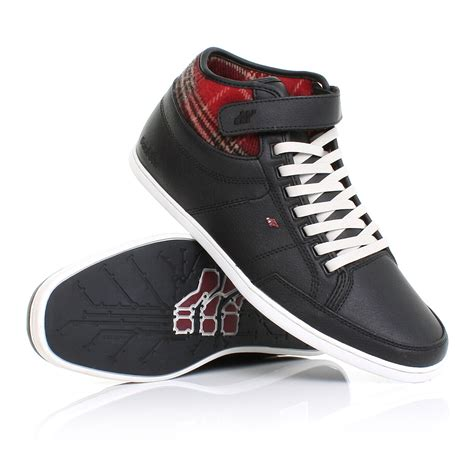 mens boxfresh swich flannel leather hi top trainers shoes