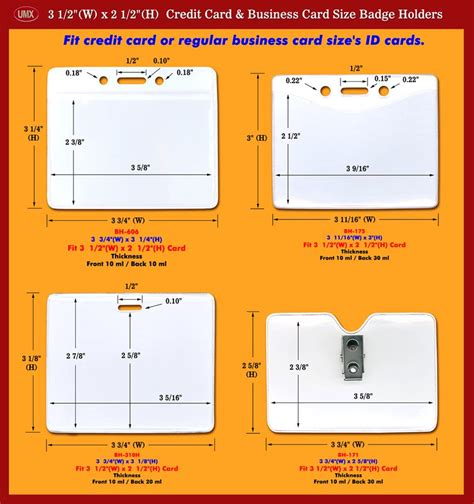 credit card or business card size id holders and i d name