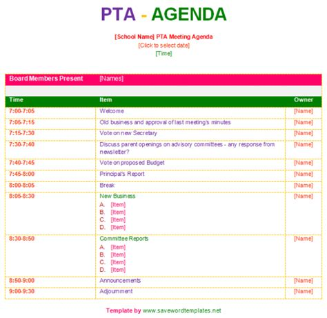 Pta Resume Sample by Pta Agenda Template Save Word Templates
