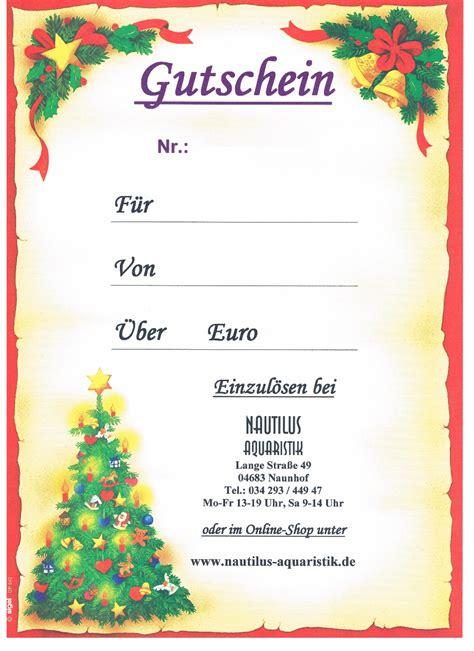 Word Vorlage Gutschein Weihnachten gutschein weihnachten nautilus aquaristik
