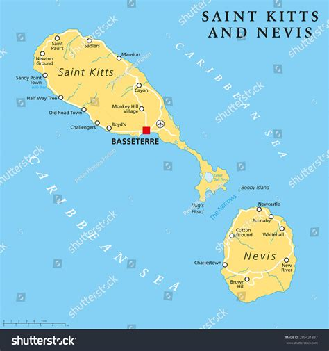 west indies political map kitts nevis political map capital stock vector