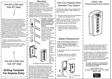 Garage Door Installation Guide wayne dalton model 3966 wireless keyless entry system