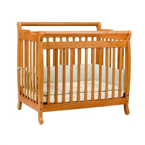 Mini Crib With Attached Changing Table Davinci Emily Mini 2 In 1 Convertible Crib With Changing Table In Honey Oak M4798o M4755o Pkg