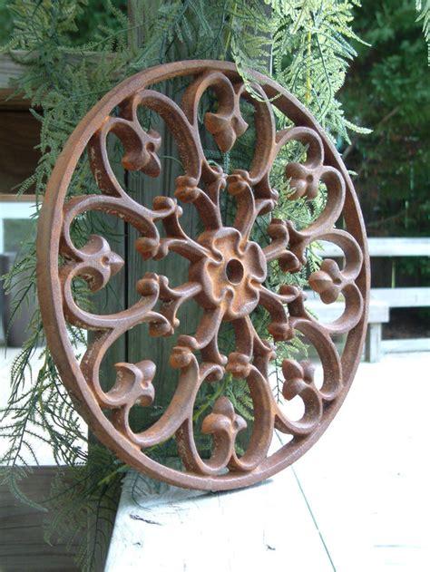 Iron Pedestal Iron Circle Rosette Medallion Cast Iron Wrought Garden Ebay