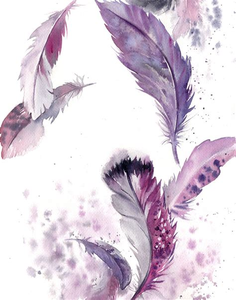 water color feather purple feathers painting original watercolor painting