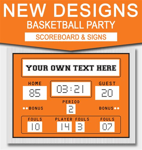 printable basketball scoreboard template basketball signs