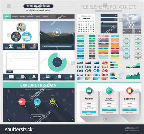 one page website flat ui design template with icons forms