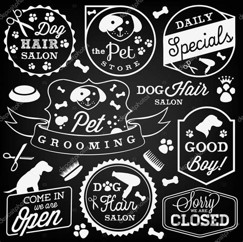 hairdresser retro design elements vector collection of pet hair salon and store badges in vintage