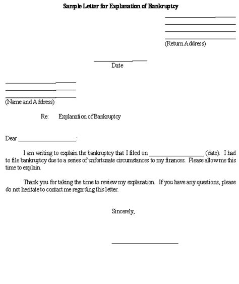 Explanation Letter Pattern Sle Letter For Explanation Of Bankruptcy Template Business Forms
