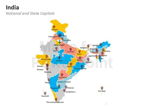 India Map Editable Powerpoint Maps India Map Ppt Template