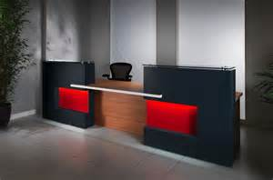 office reception furniture designs black color with orange led and brown wood combine