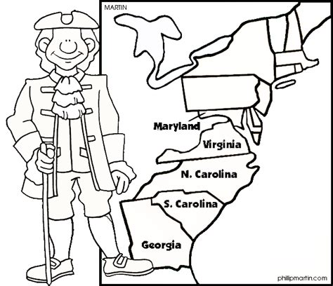 13 colonies quiz colouring pages