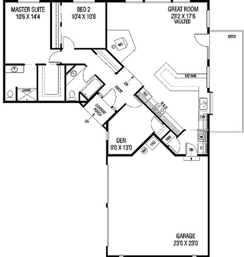 l shape house plans something to work with without the garage 2 bedroom u