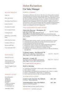 Used Car Sales Manager Sle Resume sales manager cv template purchase
