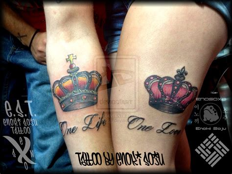 his and her couple tattoos his and hers crown tattoos by enoki soju by enokisoju on