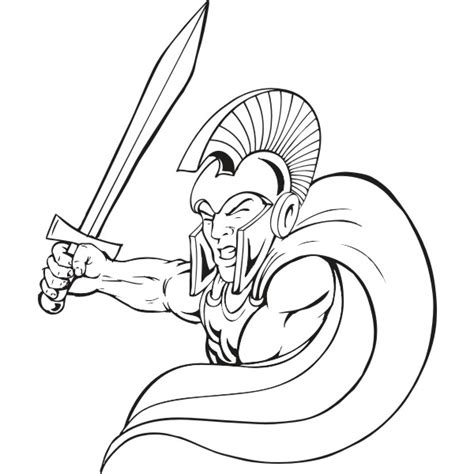 coloring page of trojan draw graphics