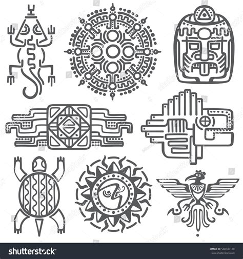ancient mexican vector mythology symbols american stock
