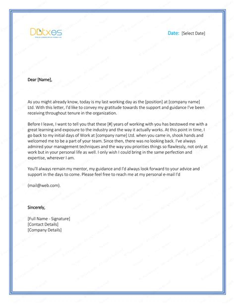appreciation letter to employee after resignation appreciation letter to after resignation docoments