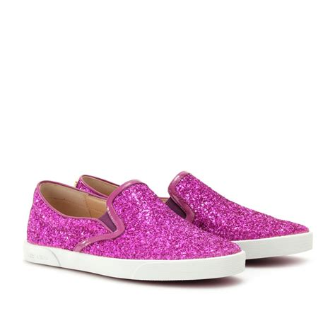 sneakers with glitter jimmy choo demi glitter sneakers in purple lyst