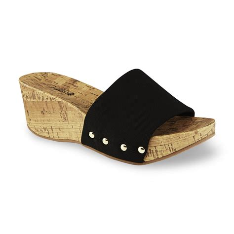 smith s talma black slip on wedge sandal
